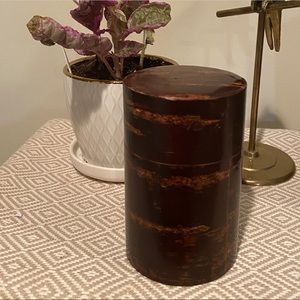 Stash Canister Storage Box Stainless Wood Vintage